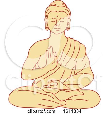Clipart of Gautama Siddhartha Gautama or Shakyamuni Buddha Sitting in Lotus Position - Royalty Free Vector Illustration by patrimonio