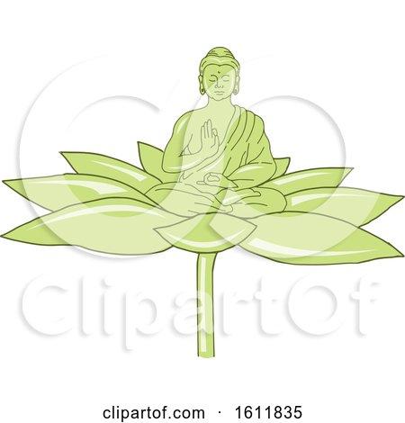 Clipart of a Gautama Siddhartha Gautama or Shakyamuni Buddha on a Lotus Flower - Royalty Free Vector Illustration by patrimonio