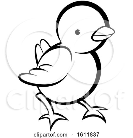 Clipart of a Lineart Cute Chick - Royalty Free Vector Illustration by Lal Perera