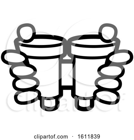 Clipart of a Lineart Pair of Hands Holding Binoculars - Royalty Free Vector Illustration by Lal Perera