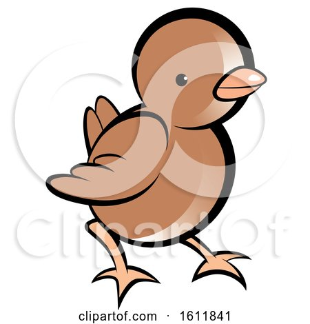 Clipart of a Cute Brown Chick - Royalty Free Vector Illustration by Lal Perera