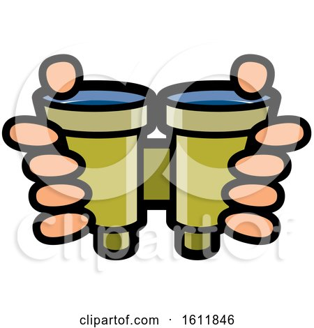 Clipart of a Pair of Hands Holding Binoculars - Royalty Free Vector Illustration by Lal Perera