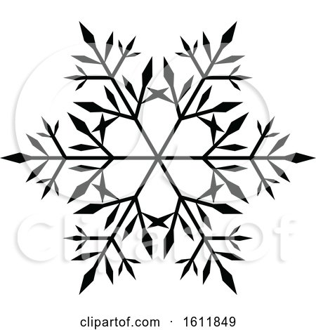 Clipart Of A Winter Snowflake In Black And White