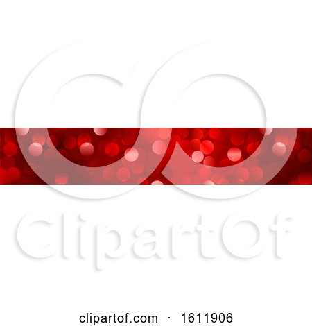 Clipart of a Sparkly Red Christmas Website Banner - Royalty Free Vector Illustration by dero