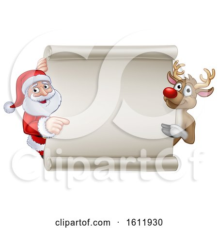 Santa and Reindeer Christmas Cartoon Sign by AtStockIllustration
