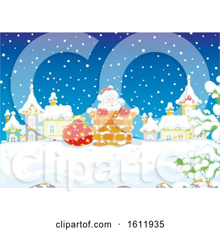 Clipart of Santa Claus Climbing down a Chimney in the Snow - Royalty Free Vector Illustration by Alex Bannykh