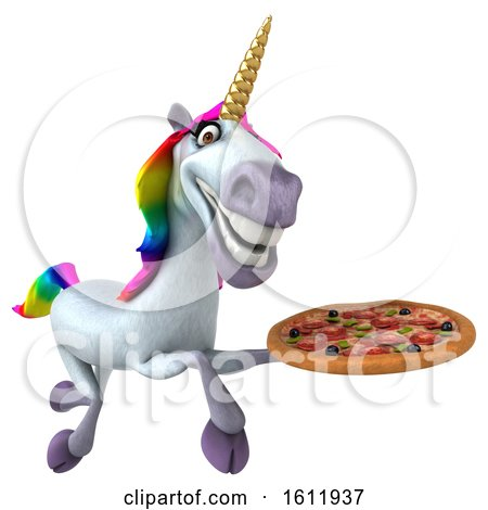 Clipart of a 3d Unicorn Holding a Pizza, on a White Background - Royalty Free Illustration by Julos