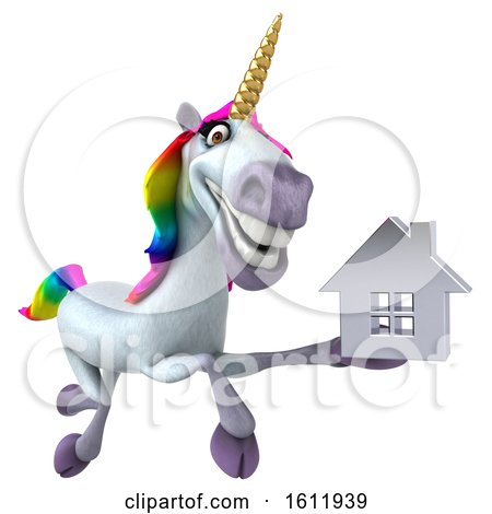 Clipart of a 3d Unicorn Holding a House, on a White Background - Royalty Free Illustration by Julos