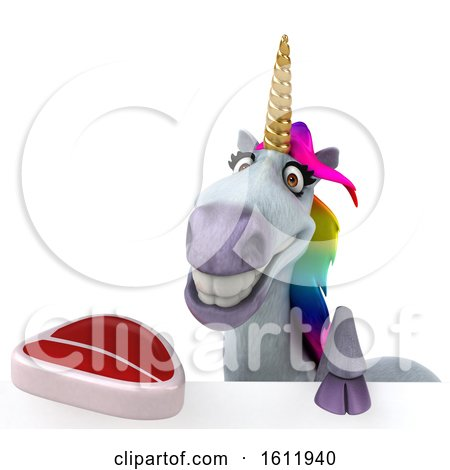 Clipart of a 3d Unicorn Holding a Steak, on a White Background - Royalty Free Illustration by Julos