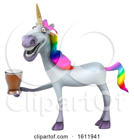 Clipart of a 3d Unicorn Holding a Beer, on a White Background - Royalty Free Illustration by Julos