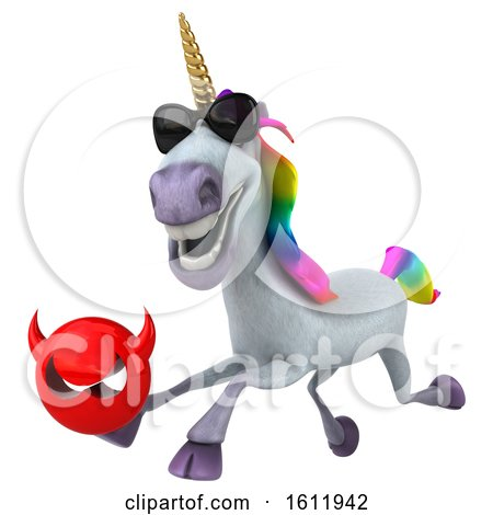 Clipart of a 3d Unicorn Holding a Devil, on a White Background - Royalty Free Illustration by Julos
