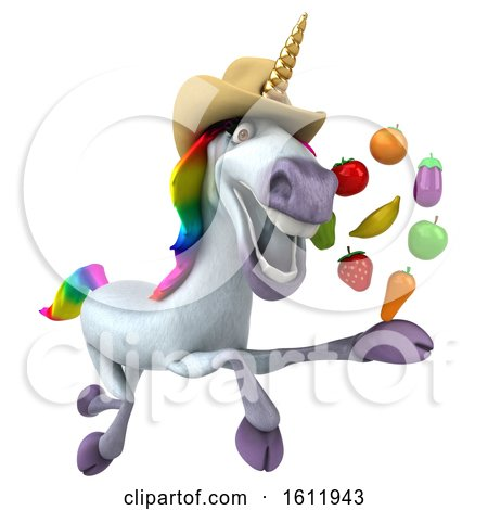 Clipart of a 3d Unicorn Holding Produce, on a White Background - Royalty Free Illustration by Julos