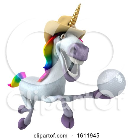 Clipart of a 3d Unicorn Holding a Golf Ball, on a White Background - Royalty Free Illustration by Julos