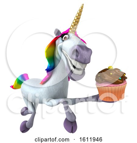 Clipart of a 3d Unicorn Holding a Cupcake, on a White Background - Royalty Free Illustration by Julos