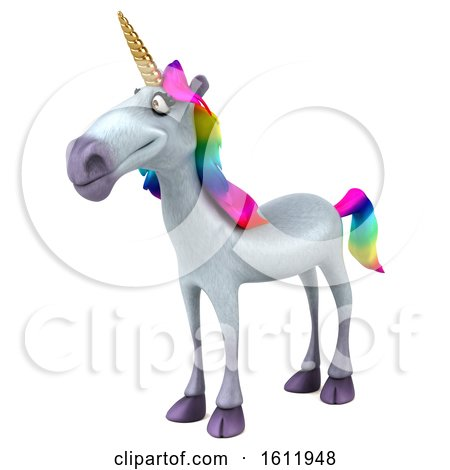 Clipart of a 3d Unicorn , on a White Background - Royalty Free Illustration by Julos