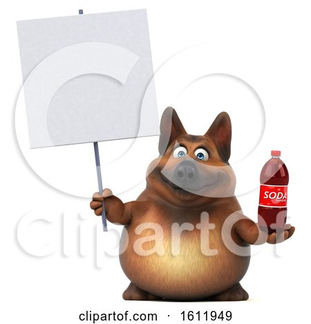 Clipart of a 3d German Shepherd Dog Holding a Soda, on a White Background - Royalty Free Illustration by Julos