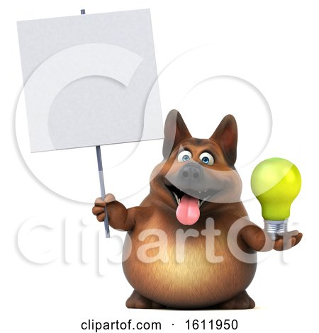Clipart of a 3d German Shepherd Dog Holding a Light Bulb, on a White Background - Royalty Free Illustration by Julos