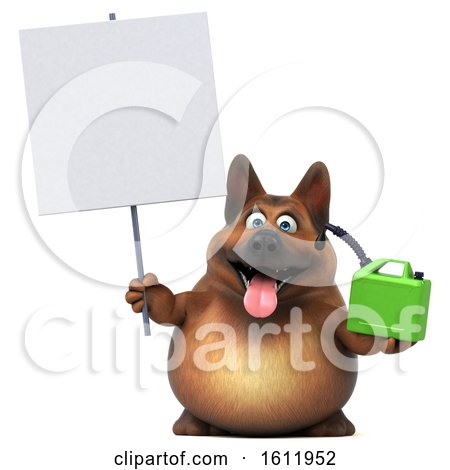 Clipart of a 3d German Shepherd Dog Holding a Gas Can, on a White Background - Royalty Free Illustration by Julos