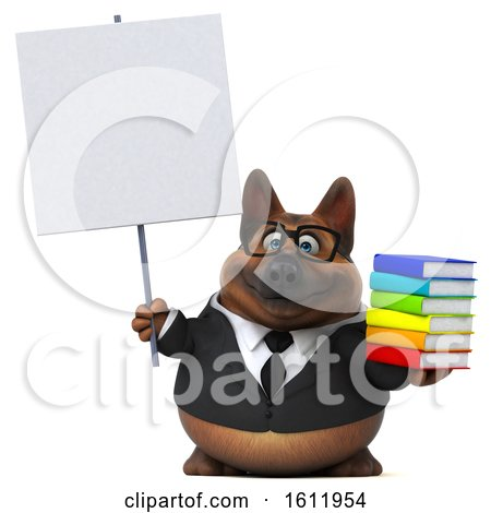 Clipart of a 3d Business German Shepherd Dog Holding Books, on a White Background - Royalty Free Illustration by Julos