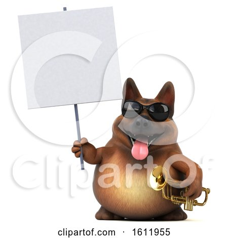 Clipart of a 3d German Shepherd Dog Holding a Trumpet, on a White Background - Royalty Free Illustration by Julos