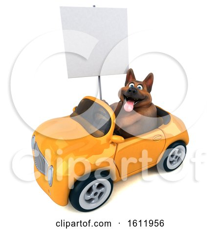 Clipart of a 3d German Shepherd Dog Driving a Convertible, on a White Background - Royalty Free Illustration by Julos