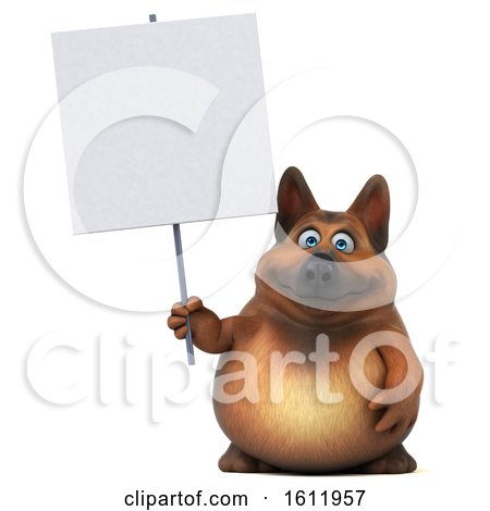Clipart of a 3d German Shepherd Dog Holding a Blank Sign, on a White Background - Royalty Free Illustration by Julos