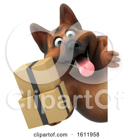 Clipart of a 3d German Shepherd Dog Holding Boxes, on a White Background - Royalty Free Illustration by Julos