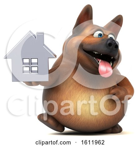 Clipart of a 3d German Shepherd Dog Holding a House, on a White Background - Royalty Free Illustration by Julos