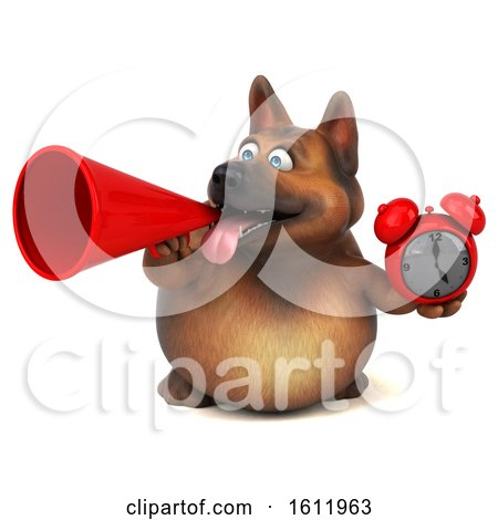 Clipart of a 3d German Shepherd Dog Holding an Alarm Clock, on a White Background - Royalty Free Illustration by Julos