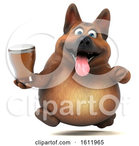 Clipart of a 3d German Shepherd Dog Holding a Beer, on a White Background - Royalty Free Illustration by Julos