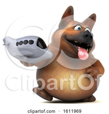 Clipart of a 3d German Shepherd Dog Holding a Plane, on a White Background - Royalty Free Illustration by Julos