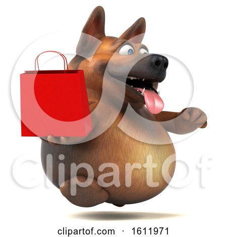 Clipart of a 3d German Shepherd Dog Holding a Shopping Bag, on a White Background - Royalty Free Illustration by Julos