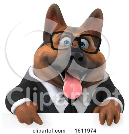Clipart of a 3d Business German Shepherd Dog over a Sign, on a White Background - Royalty Free Illustration by Julos