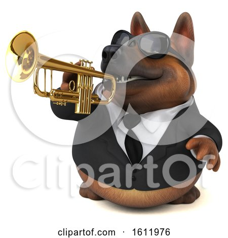 Clipart of a 3d Business German Shepherd Dog Playing a Trumpet, on a White Background - Royalty Free Illustration by Julos