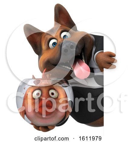 Clipart of a 3d Business German Shepherd Dog Holding a Fish Bowl, on a White Background - Royalty Free Illustration by Julos