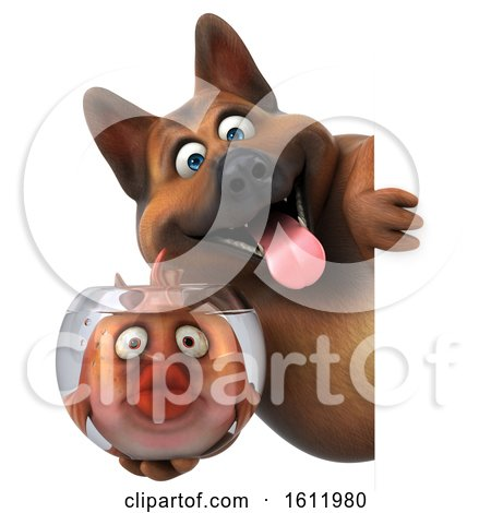 Clipart of a 3d German Shepherd Dog Holding a Fish Bowl, on a White Background - Royalty Free Illustration by Julos