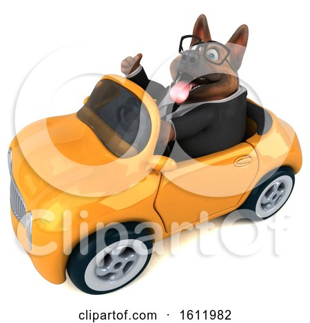 Clipart of a 3d Business German Shepherd Dog Driving a Convertible, on a White Background - Royalty Free Illustration by Julos