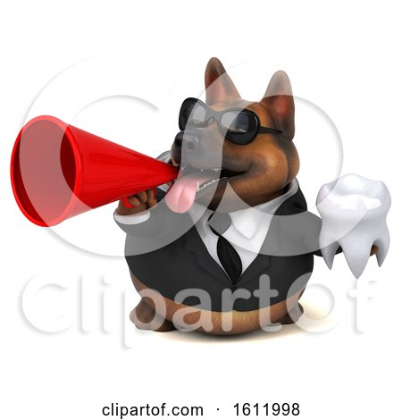 Clipart of a 3d Business German Shepherd Dog Holding a Tooth, on a White Background - Royalty Free Illustration by Julos