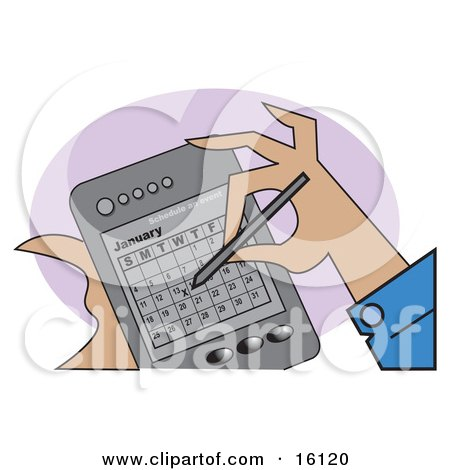 Person Marking And Scheduling An Event In The Calendar Of Their Handheld PDA Palm Pilot Clipart Illustration by Andy Nortnik