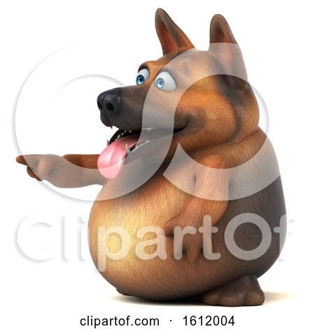 Clipart of a 3d German Shepherd Dog Pointing, on a White Background - Royalty Free Illustration by Julos
