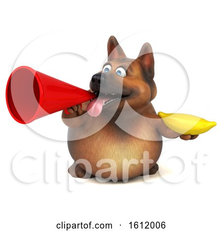 Clipart of a 3d German Shepherd Dog Holding a Banana, on a White Background - Royalty Free Illustration by Julos