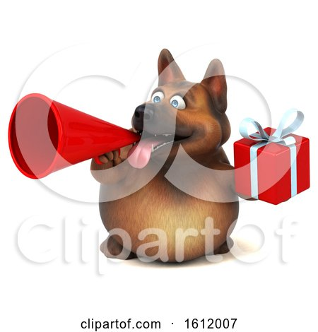 Clipart of a 3d German Shepherd Dog Holding a Gift, on a White Background - Royalty Free Illustration by Julos