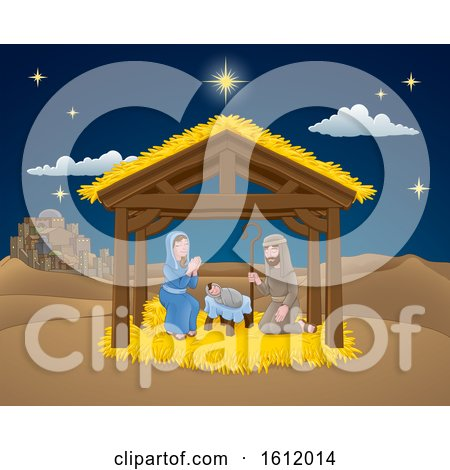 Nativity Christmas Scene Cartoon by AtStockIllustration