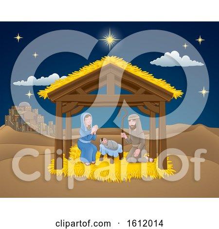 Nativity Christmas Scene Cartoon by AtStockIllustration