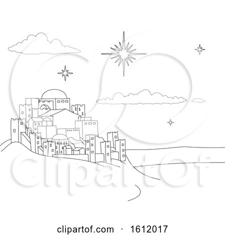 Nativity Christmas City Cartoon Scene Coloring by AtStockIllustration