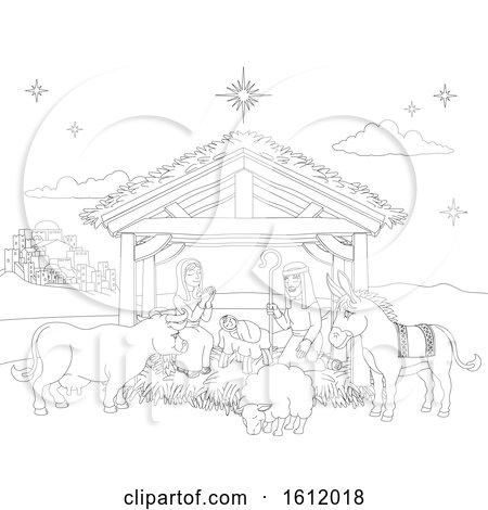 Cartoon Christmas Nativity Scene Coloring by AtStockIllustration
