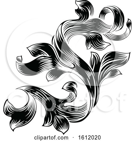 Heraldic Floral Filigree Pattern Scroll Design by AtStockIllustration