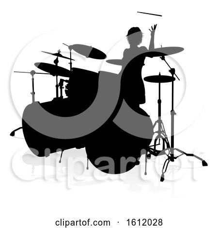 Musician Drummer Silhouette by AtStockIllustration
