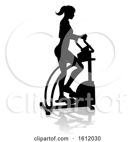 Gym Woman Silhouette Elliptical Cross Fit Machine by AtStockIllustration