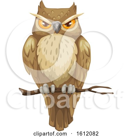Clipart of a Perched Owl - Royalty Free Vector Illustration by Vector Tradition SM